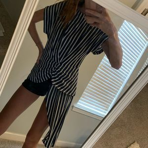 Gibson Latimer Blue and White Stripe Top